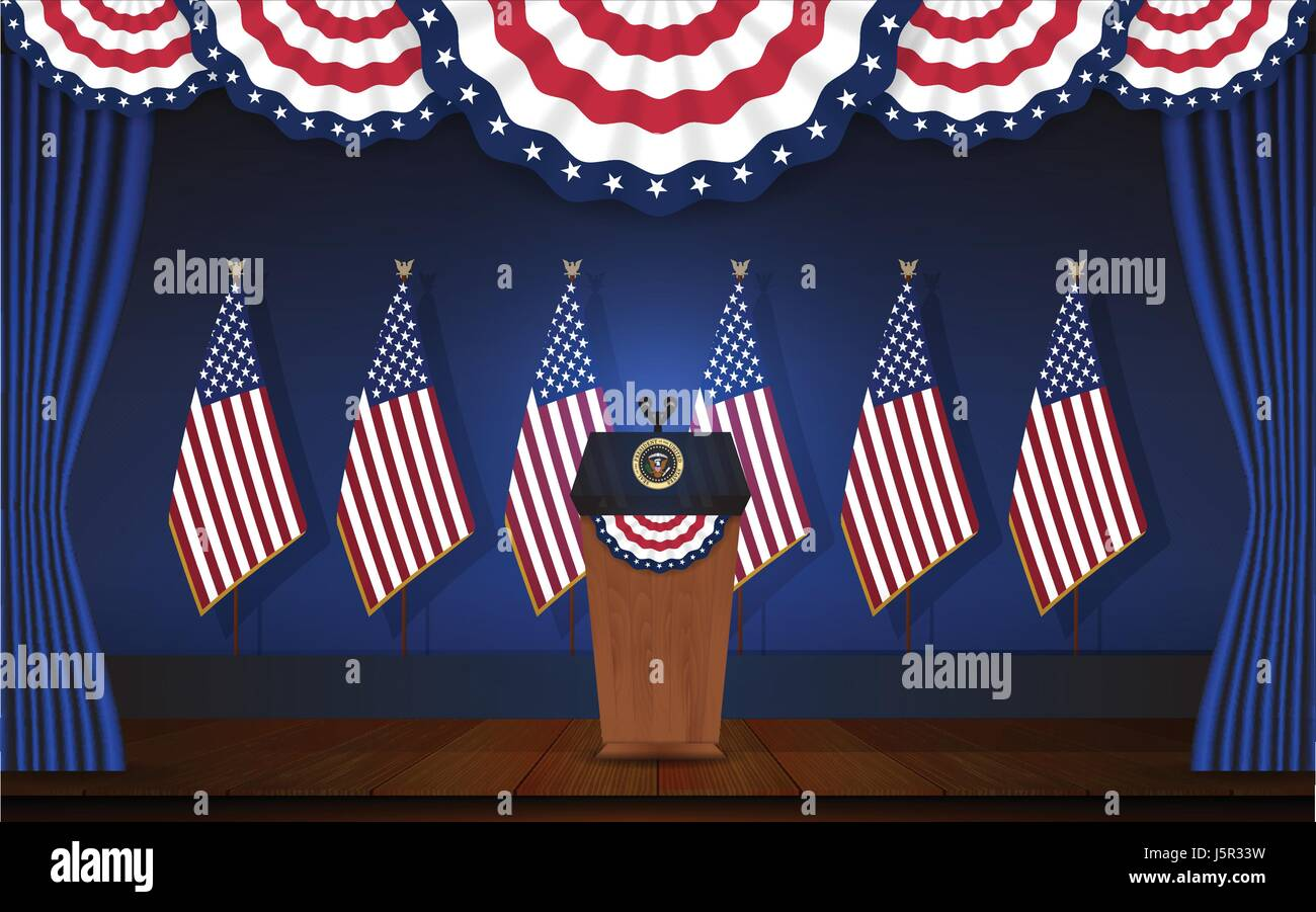 President podium on stage with flagstaff on back and semi-circle flag on top. Open curtain stage with blue background - Stock Image