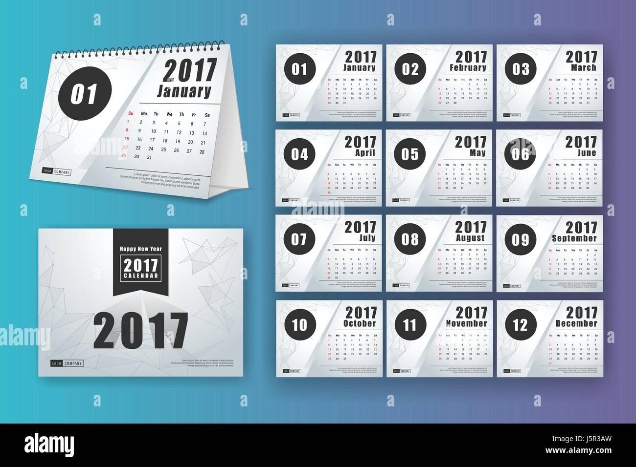 12 month desk calendar template for print design with mesh polygon