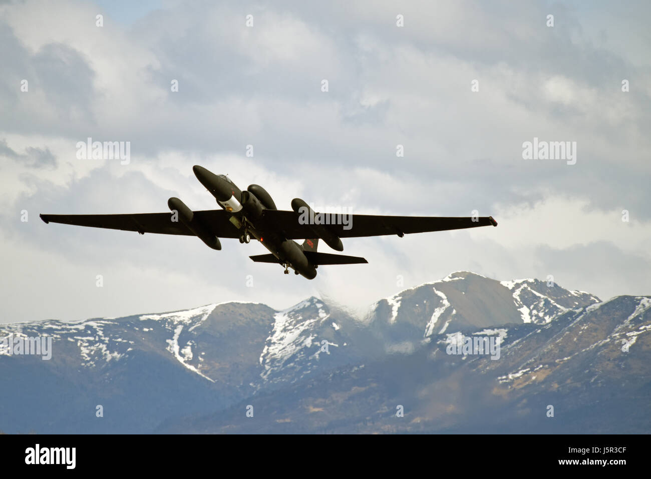 A U.S. Air Force U-2S Dragon Lady spy plane takes off during exercise Northern Edge at the Joint Base Elmendorf - Stock Image