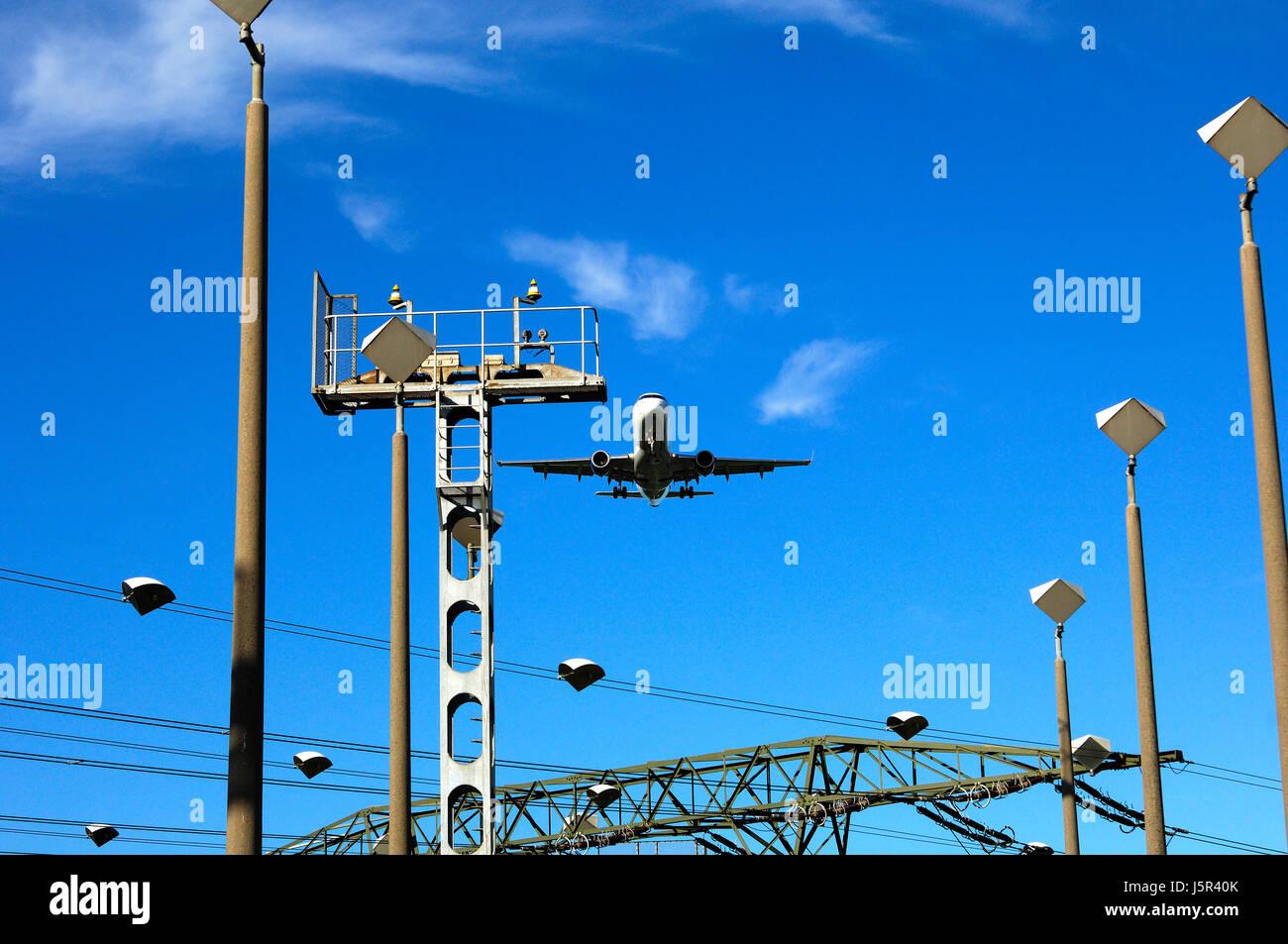 flight engineering traffic transportation transport airline landing orientation Stock Photo