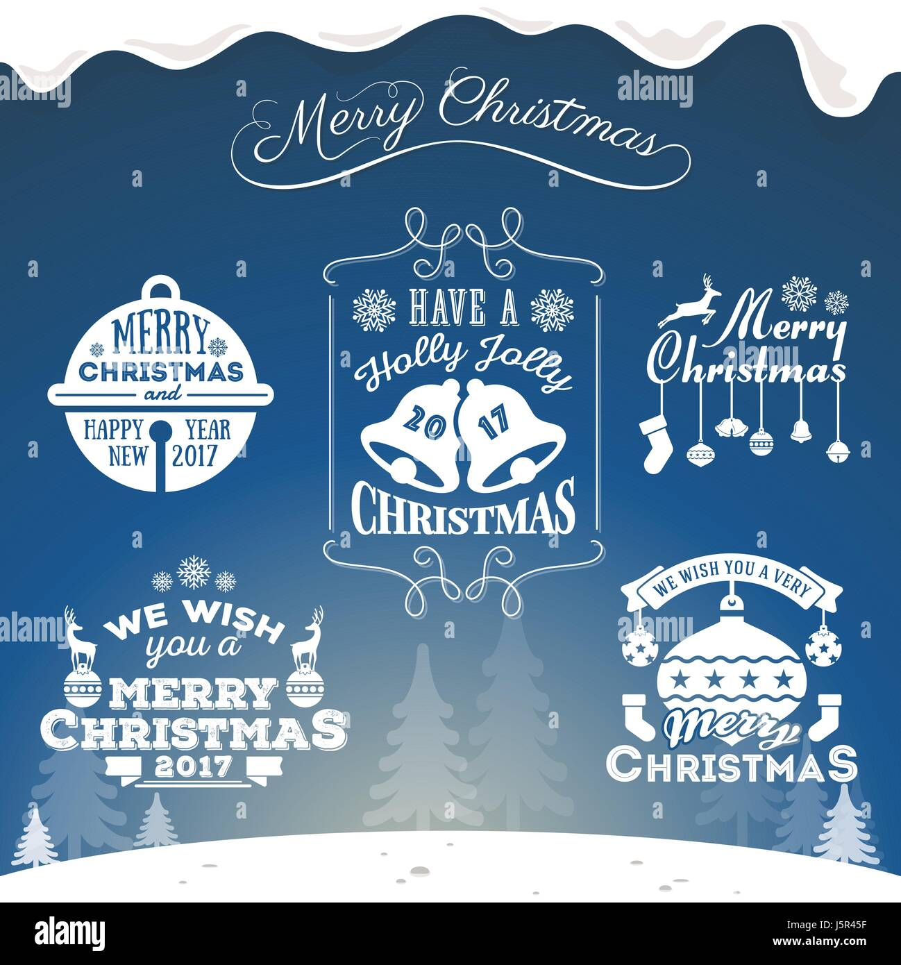 set of christmas decoration typography tag and label design merry christmas and happy new year 2017 vector illustration