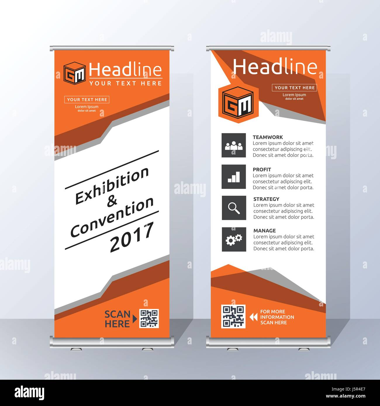 Roll Up Banner Template Design With Abstract Orange