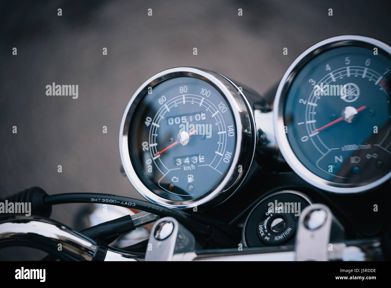 Motorbike speed-o-meter - Stock Image
