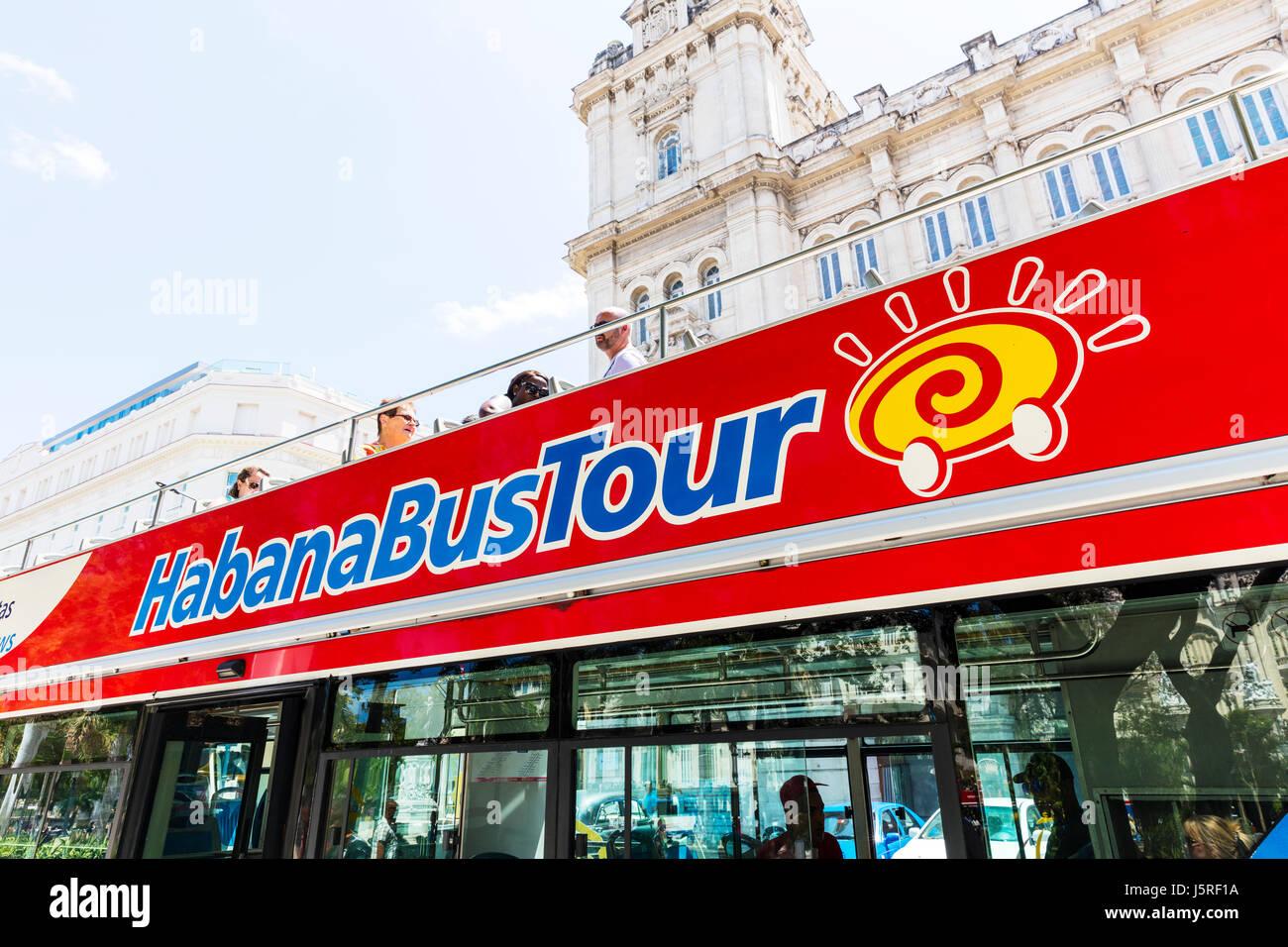 Havana bus tour Cuba, Habana bus tour Cuba, Cuban bus tour, Cuban bus tours Havana, tourist bus tour, tours, tourism, - Stock Image