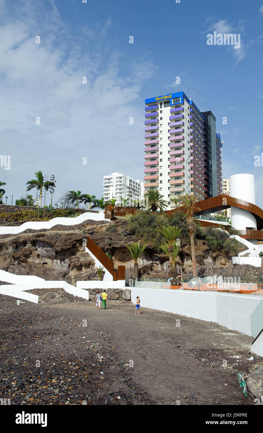 Adeje, Santa Cruz de Tenerife, Spain -25 December, 2016. Playa El Pinque and Hard Rock hotel complex  province Santa - Stock Image