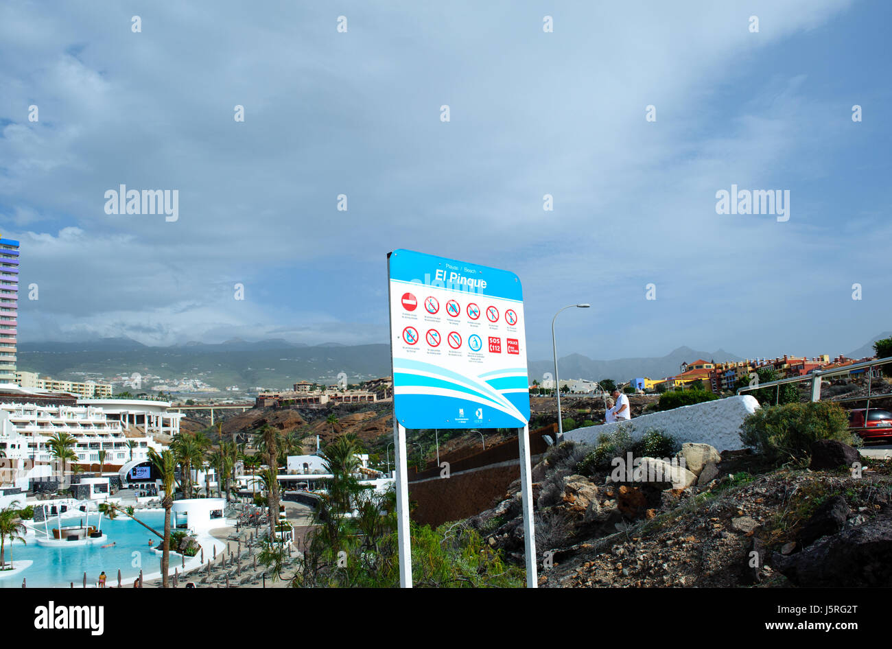 Playa El Pinque Tenerife -25 December, 2016. Signboard Playa El Pinque small public beach in  Tenerife, Canaries - Stock Image