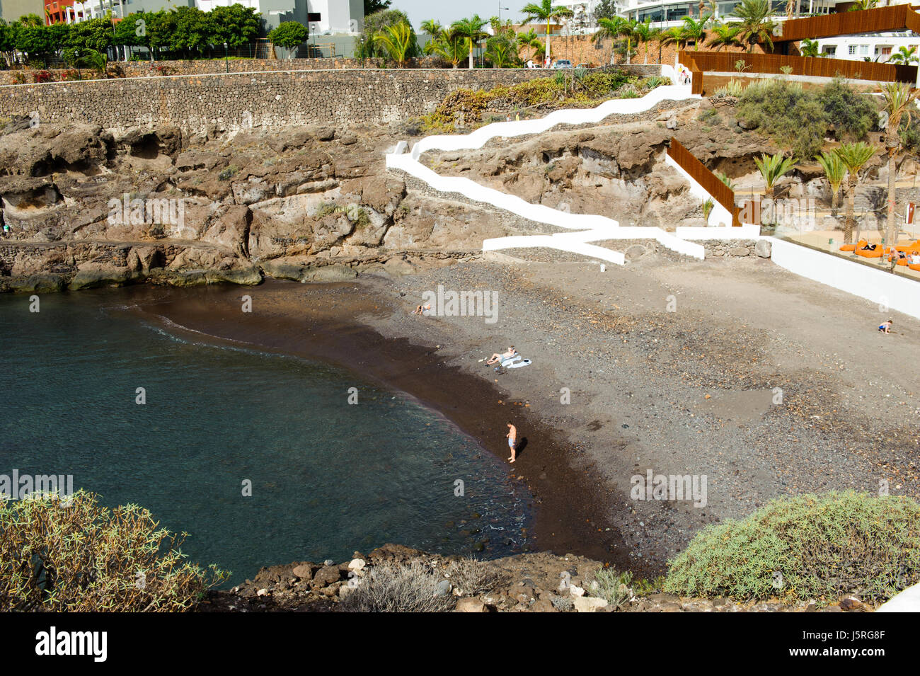 Playa El Pinque Tenerife -25 December, 2016. Beautiful view on Playa El Pinque small public beach in  Tenerife, - Stock Image