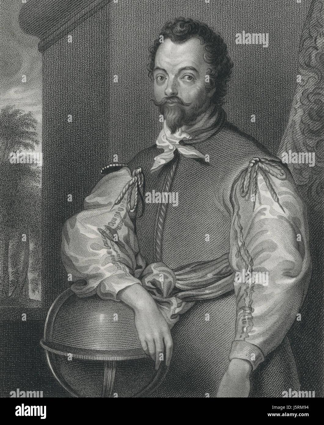 Sir Francis Drake (1540-96), English Admiral and Navigator, Portrait, Engraved by S. Freeman, 1829 - Stock Image