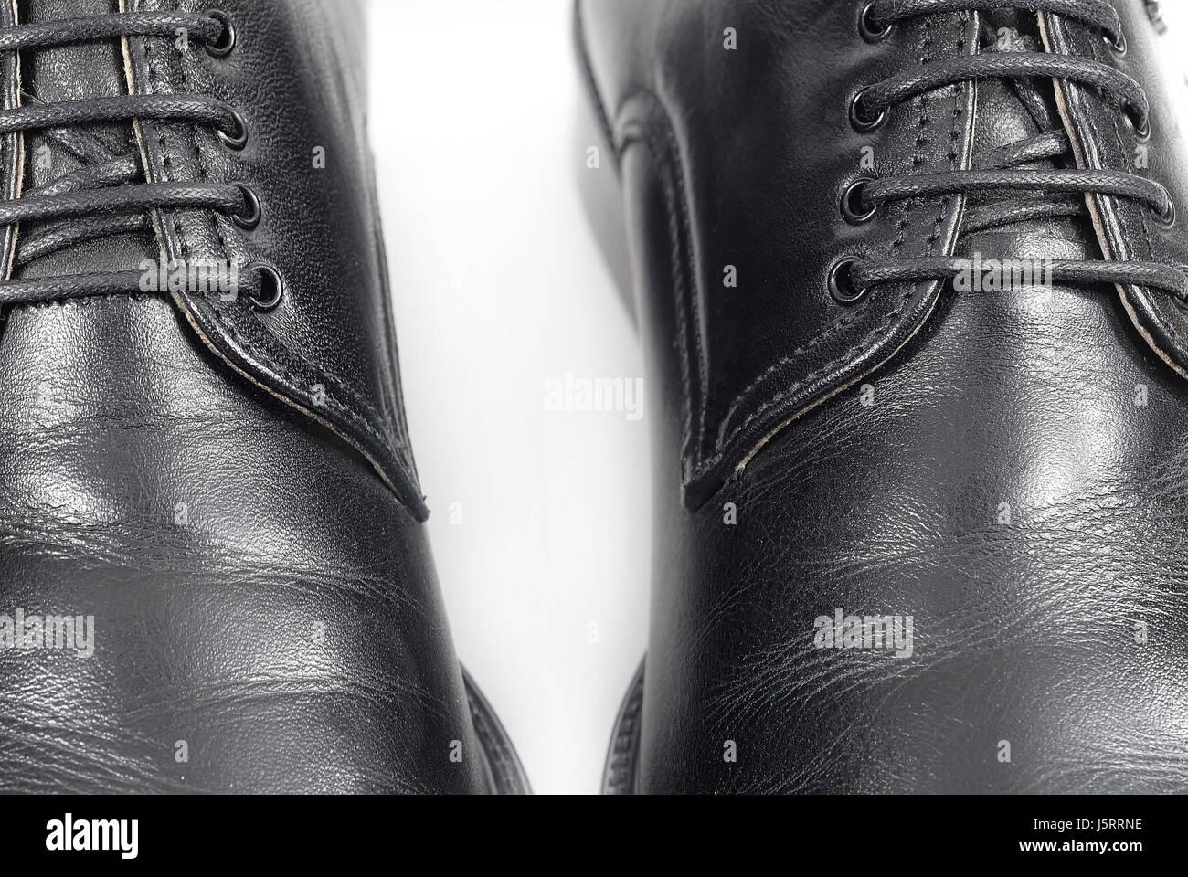 fashion black swarthy jetblack deep black shoes leather classical bright shiny Stock Photo