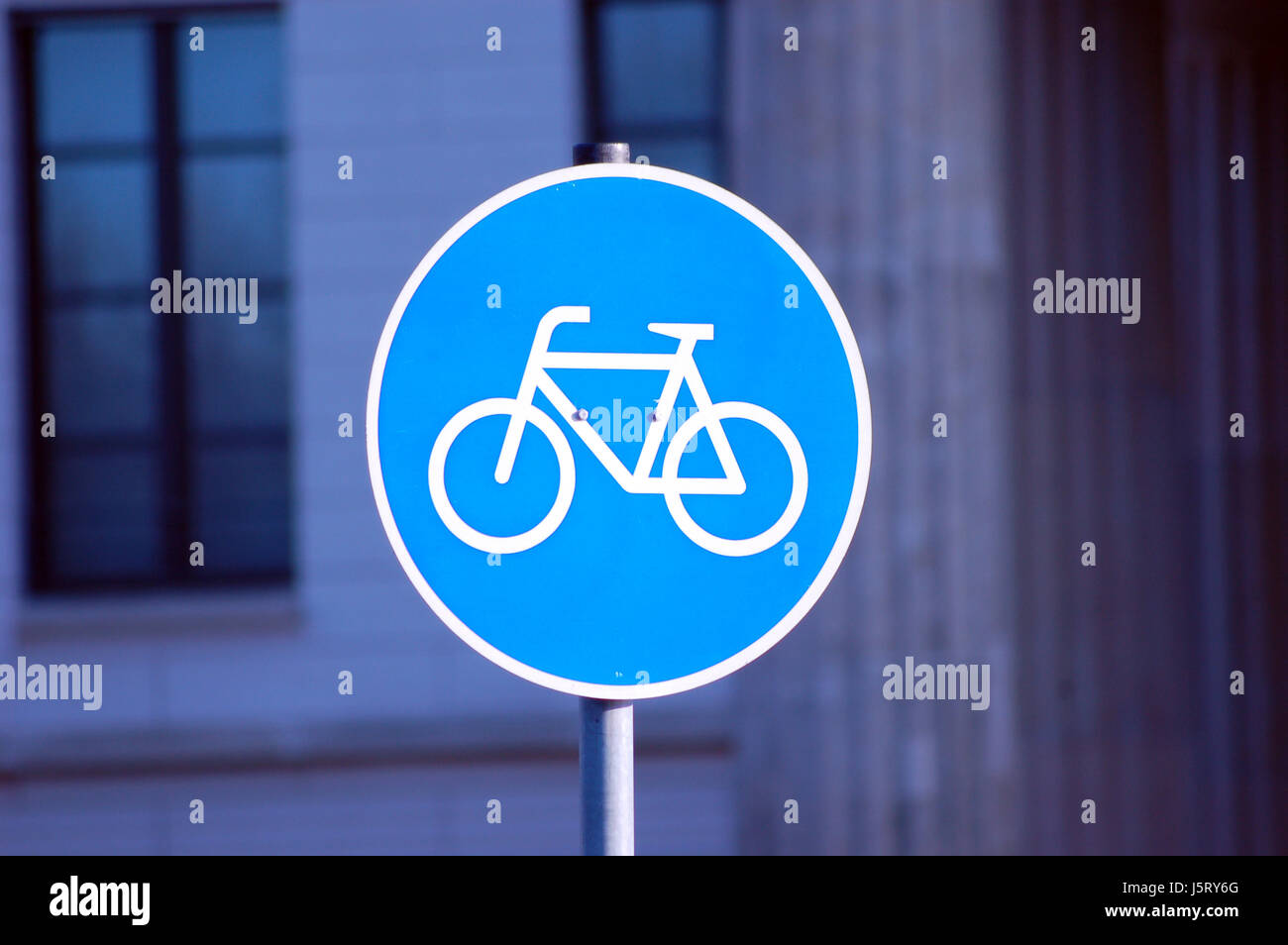 sign signal blue traffic sign traffic regulations complete perfect street road - Stock Image