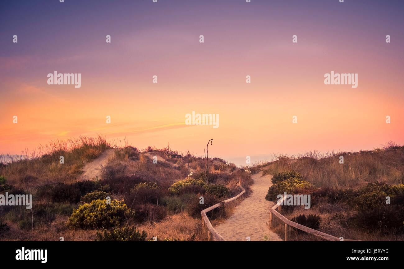 sunrise sunset nature reserve Marbella Spain - Stock Image