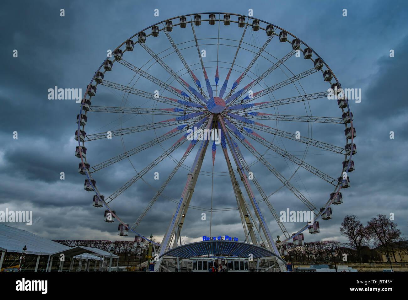 Paris Wheel At Night - Stock Image