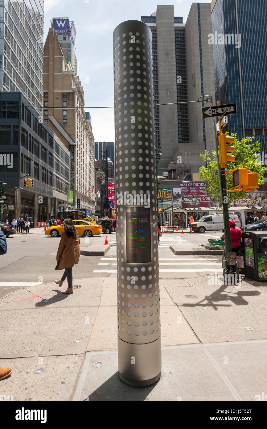 One of the new wayfinding kiosks that stand at either end of Restaurant Row in New York, West 46th street between - Stock Image
