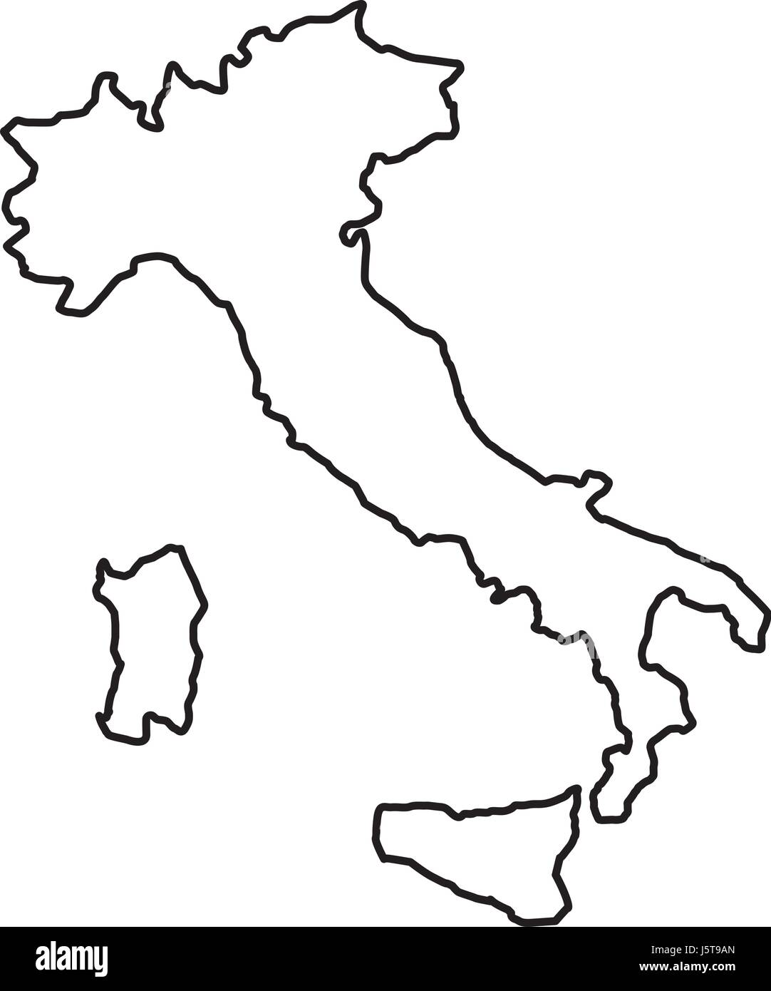italy map black and white stock photos images alamy Printable Blank Outline Map of Italy italy map icon stock image