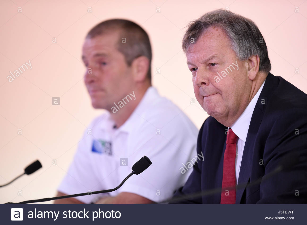 File photo dated 04-10-2015 of Rugby Football Union chief executive Ian Ritchie (right) and Stuart Lancaster. Stock Photo