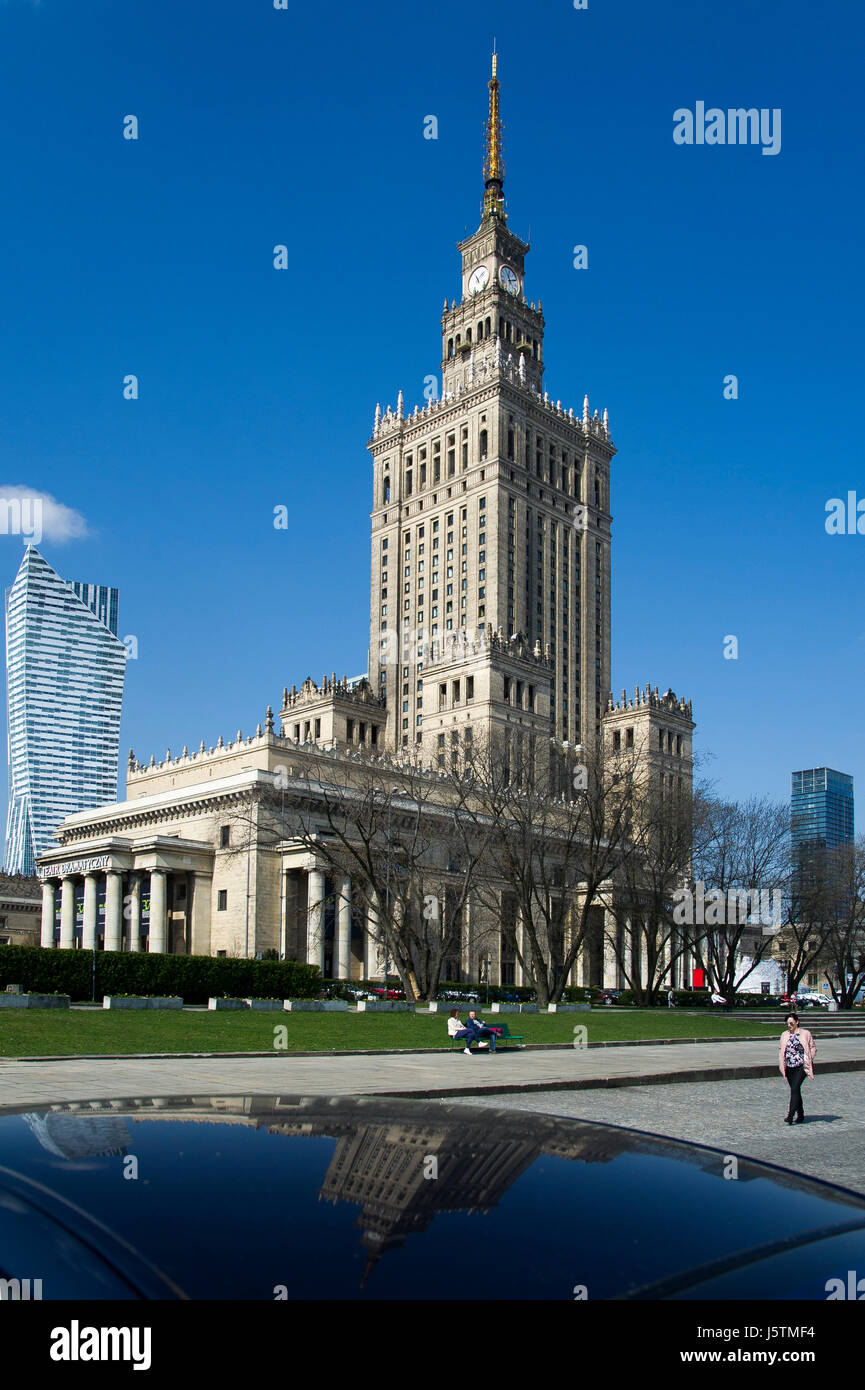 Zlota 44 residential skyscraper by Daniel Libeskind and Palace of Culture and Science (Palac Kultury i Nauki PKiN) in Warsaw, Poland. Designed by Sovi Stock Photo