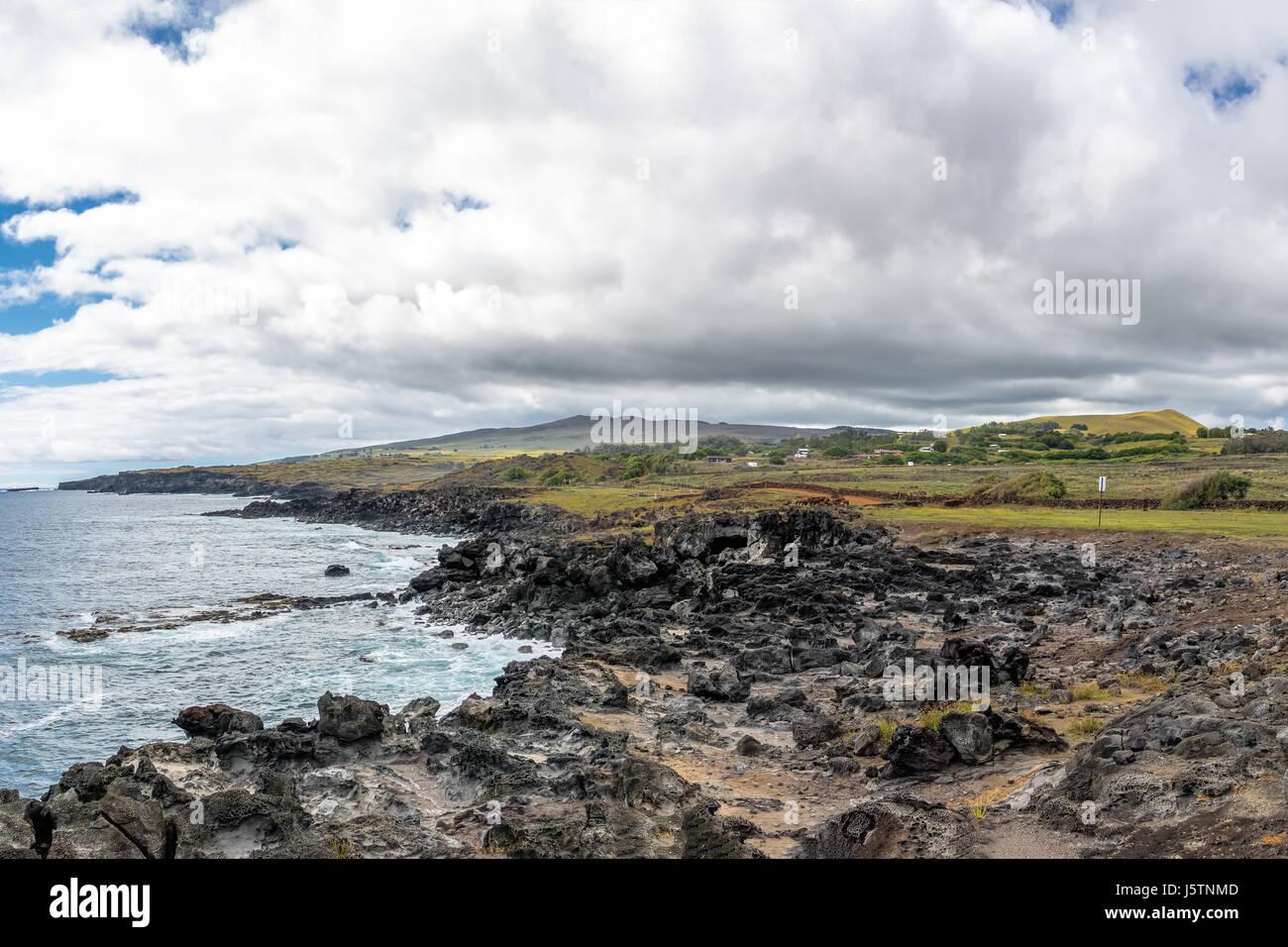 Rocky Coast of Easter Island - Easter Island, Chile - Stock Image