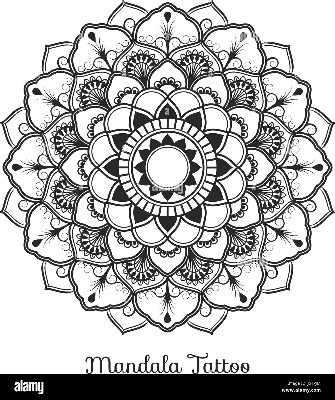 Tibetan Mandala Decorative Ornament Design For Adult Coloring Page Greeting Card Invitation Tattoo Yoga And Spa Symbol Vector Illustration