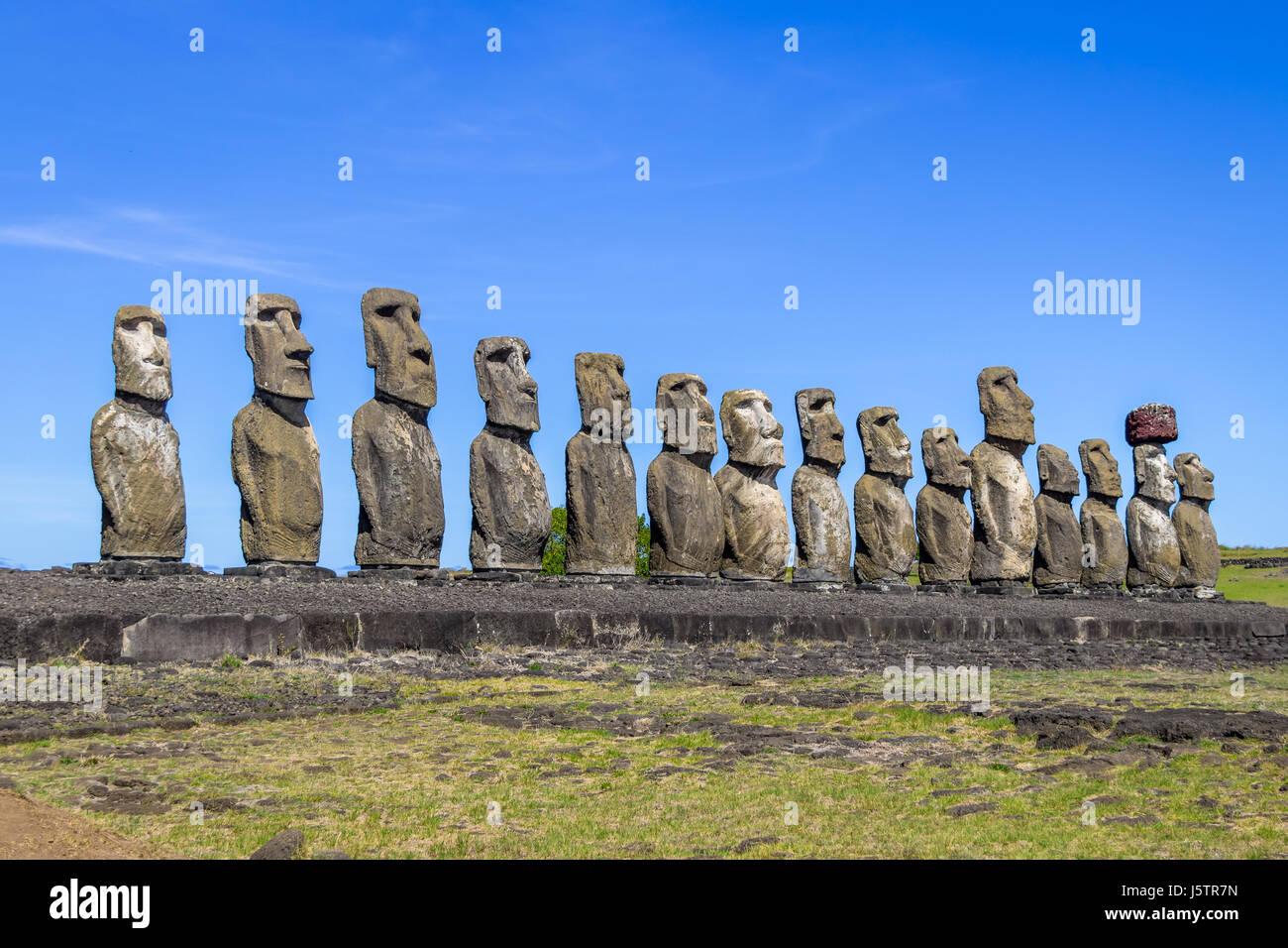 Moai Statues of Ahu Tongariki - Easter Island, Chile - Stock Image