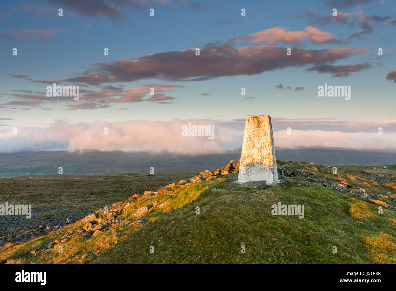 The Summit of Great Stony Hill with the Hills to the South Shrouded in Hill Fog, Upper Teesdale, County Durham, - Stock Image