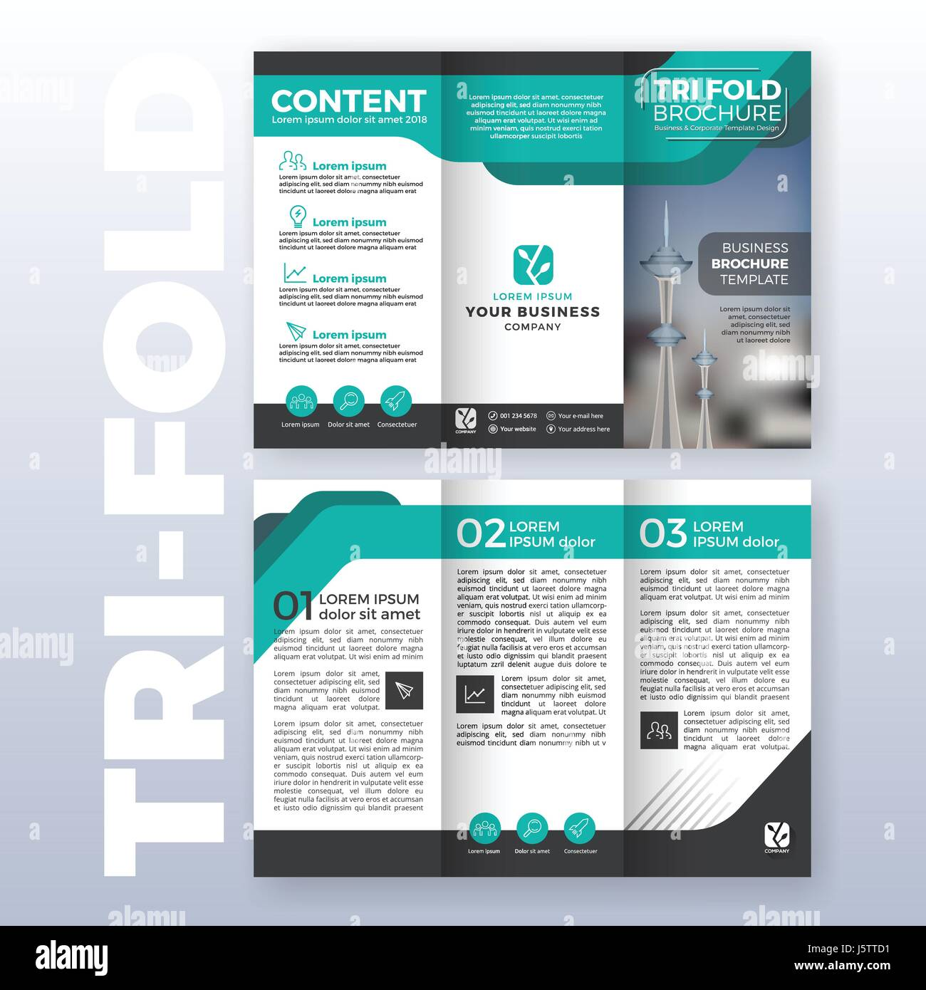 Business tri fold brochure template design with turquoise color business tri fold brochure template design with turquoise color scheme in a4 size layout with bleeds vector illustration wajeb Gallery