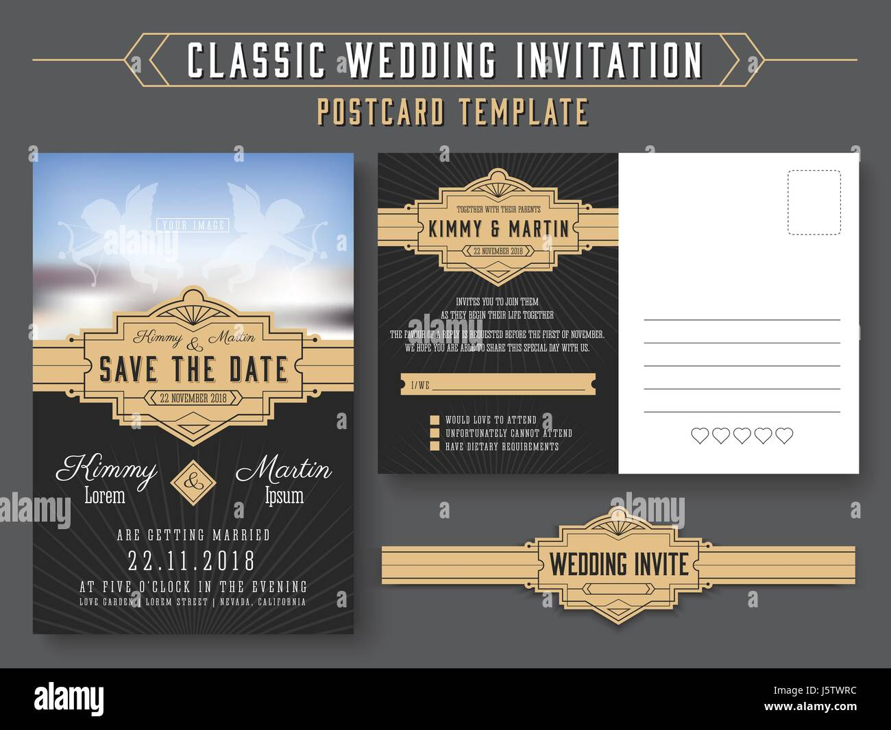 Classic vintage wedding invitation card design suitable for both classic vintage wedding invitation card design suitable for both traditional and modern trend you can replace your wedding couple image save the da stopboris Image collections