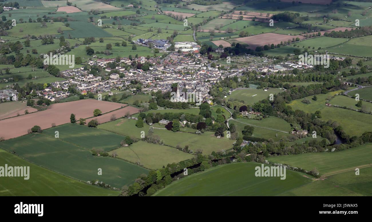 aerial view of the Yorkshire village of Masham, UK - Stock Image