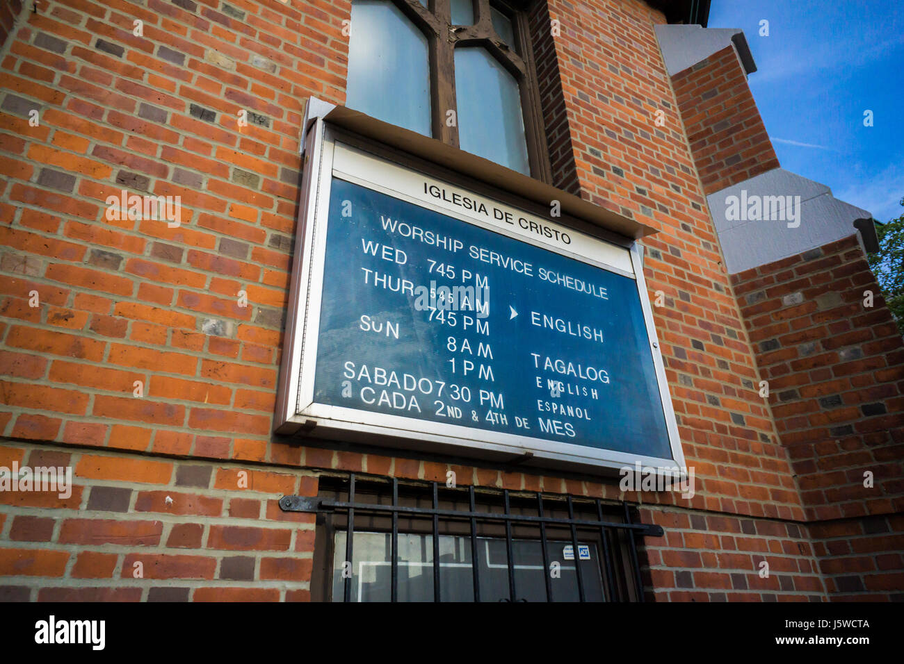 The sign board outside of the Iglesia de Cristo on Thursday, May 11, 2017 in the Long Island City neighborhood in - Stock Image