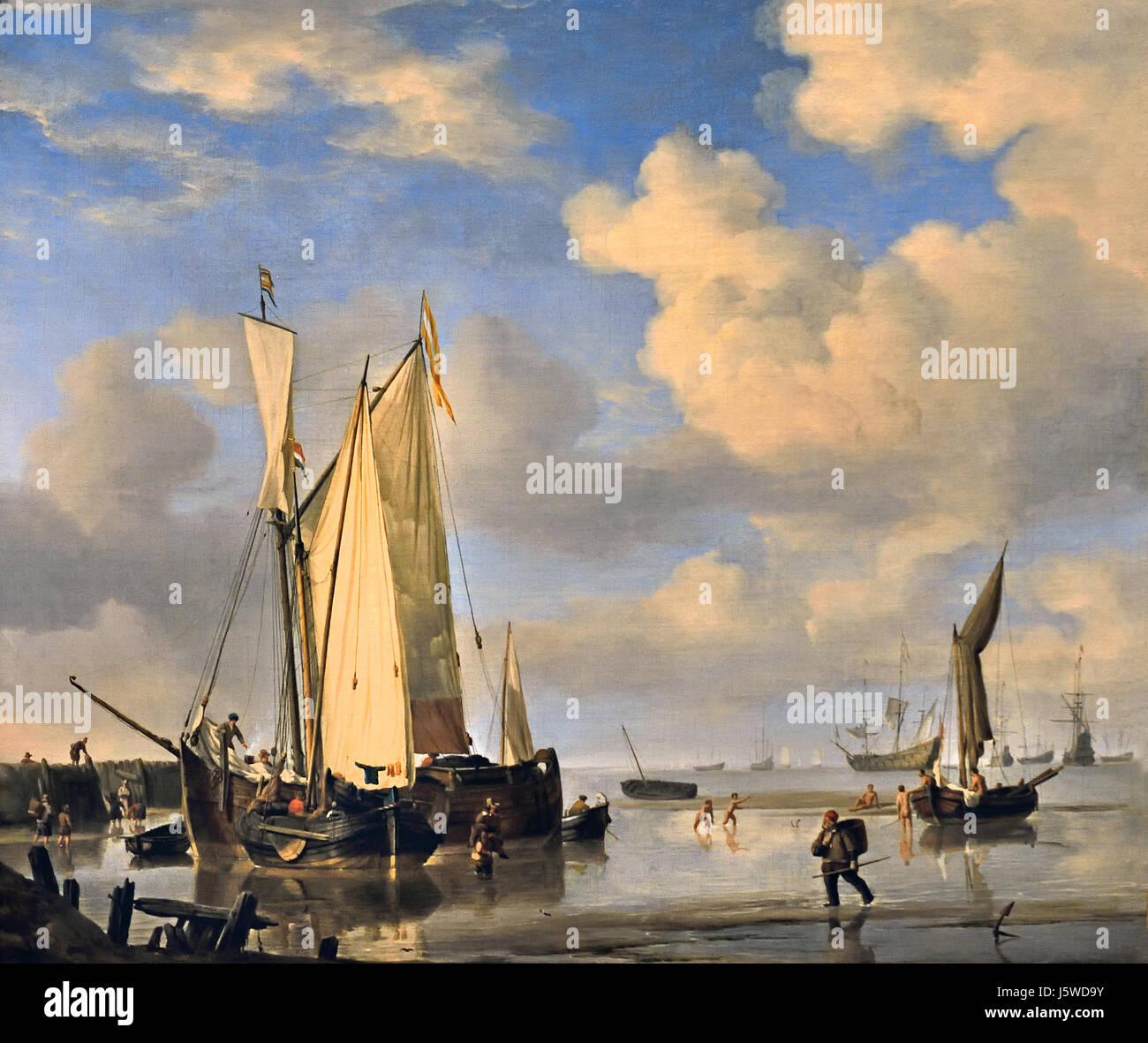 Dutch Vessels Inshore and Men Bathing 1661 Willem van de Velde 1633 - 1707  Dutch The Netherlands - Stock Image