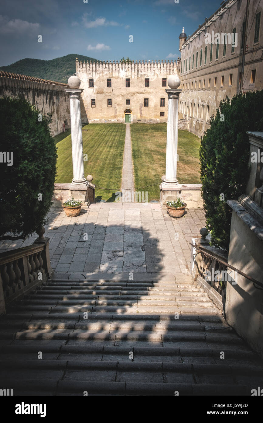 Padova, Italy, 22 April 2017 - the stairs that lead to courtyard of the Catajo castle in the euganean hills area - Stock Image