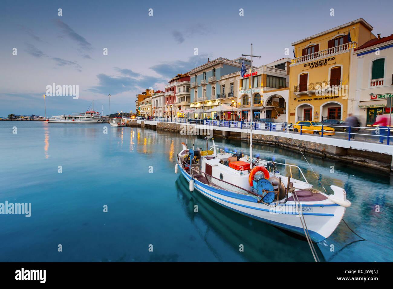 Evening view of Agios Nikolaos and its harbor, Crete, Greece. - Stock Image