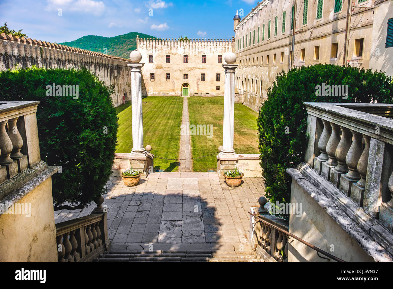 castle courtyard in the euganean hills area padova province italy - Stock Image
