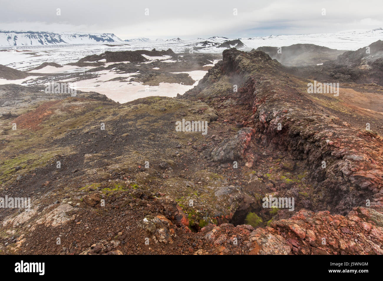 Fumarole at Leirhnjukur / Leirhnjúkur, lava field in the Krafla caldera in winter, Norðurland eystra / - Stock Image