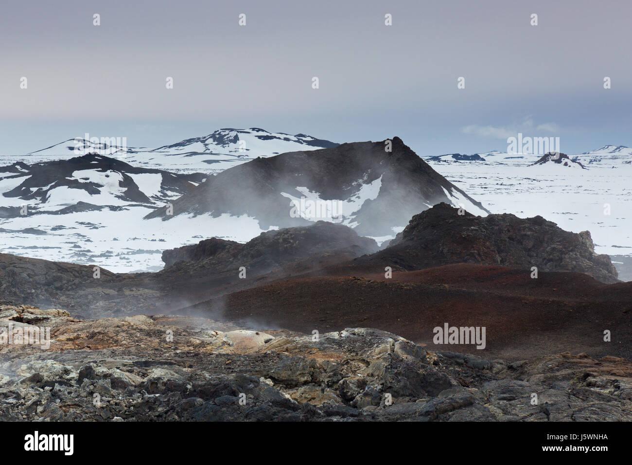 Fumaroles at Leirhnjukur / Leirhnjúkur, lava field in the Krafla caldera in winter, Norðurland eystra - Stock Image