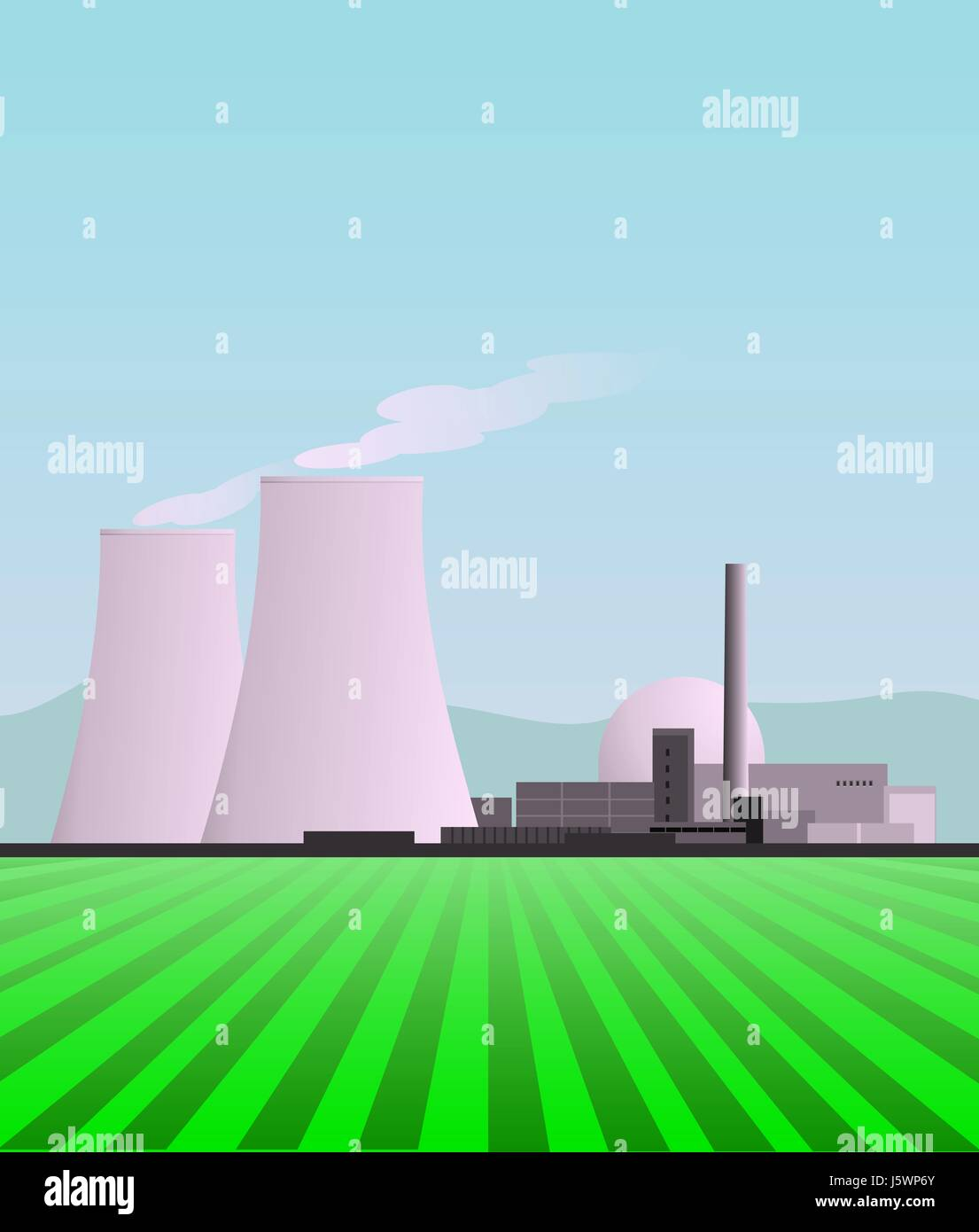 power station atom nuclear power station environment enviroment cooling tower - Stock Image