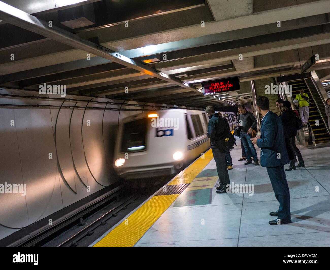 'Bart' (Bay Area Rapid Transit) train arriving underground at Market Street station San Francisco California - Stock Image