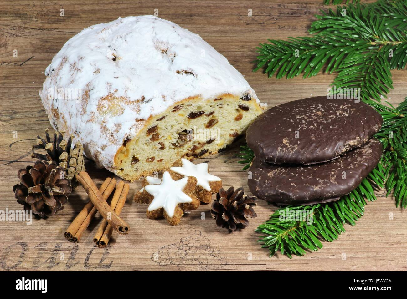 German Christmas Food.German Christmas Food Specialties On Wooden Background Stock