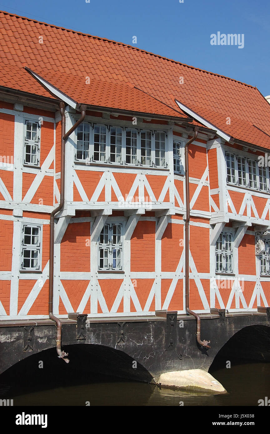 half-timbered house on the vault wismar - Stock Image