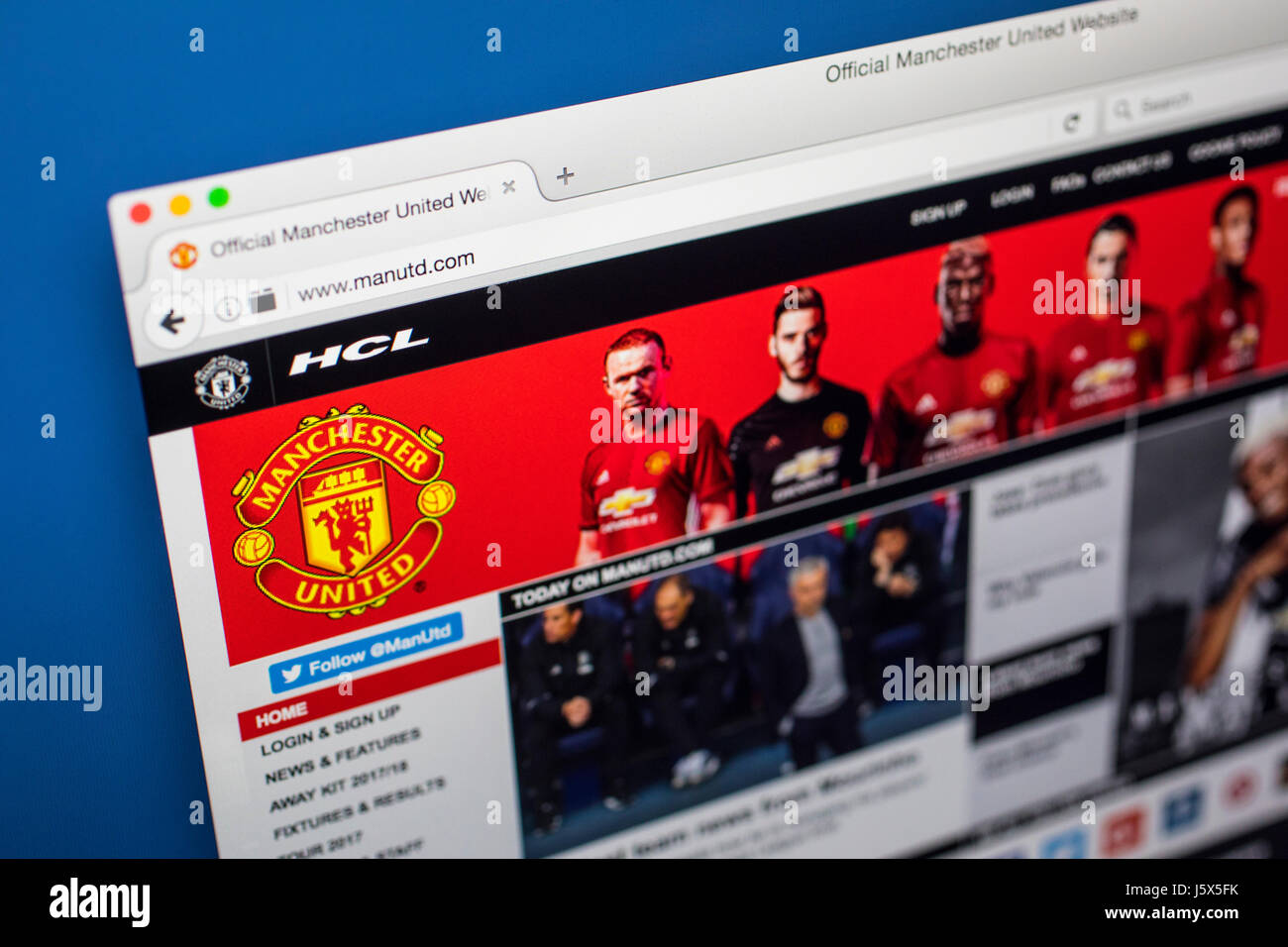 LONDON, UK - MAY 17TH 2017: The homepage of the official website for Manchester United Football Club, viewed on - Stock Image