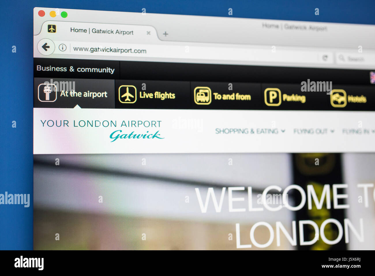 LONDON, UK - MAY 17TH 2017: The homepage for the official website of London Gatwick Airport, on 17th May 2017. - Stock Image
