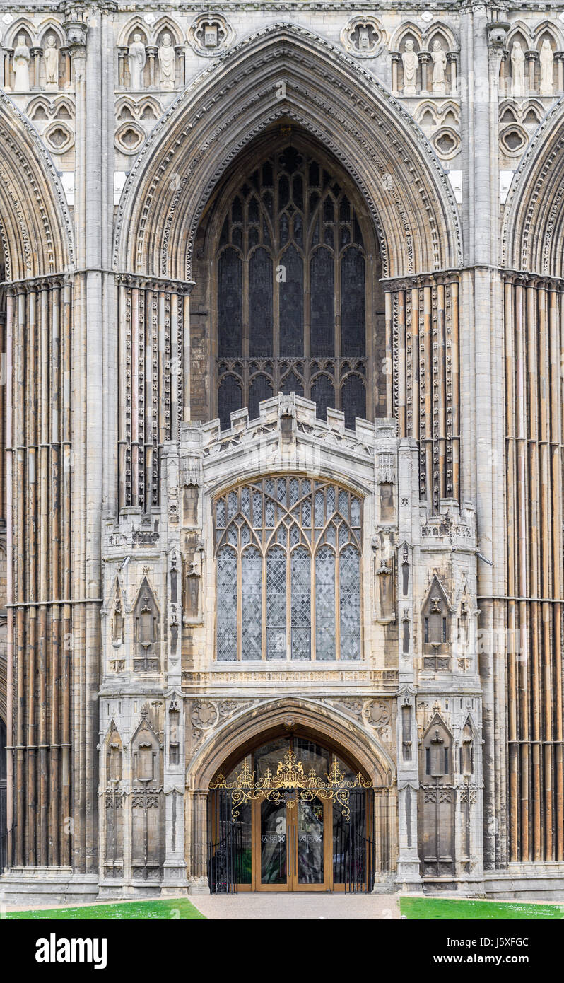 Entrance door at the west facade of the medieval christian cathedral at Peterborough England. Stock Photo