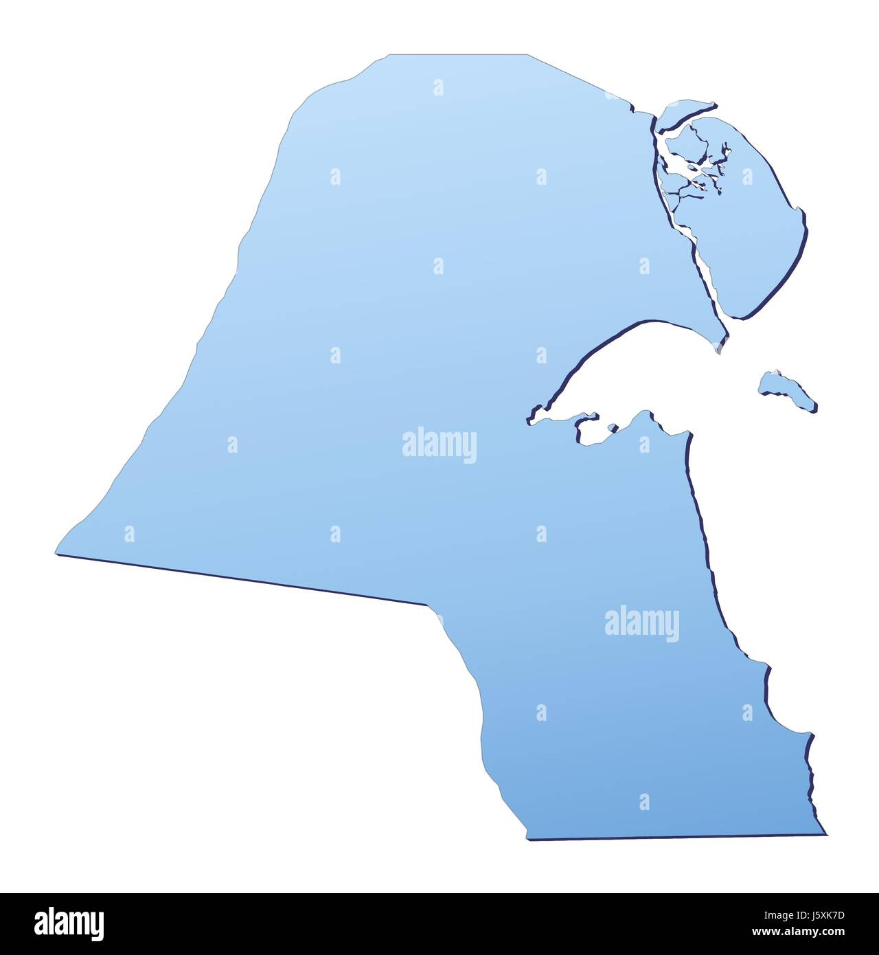 blue isolated outline gradient map kuwait atlas map of the world