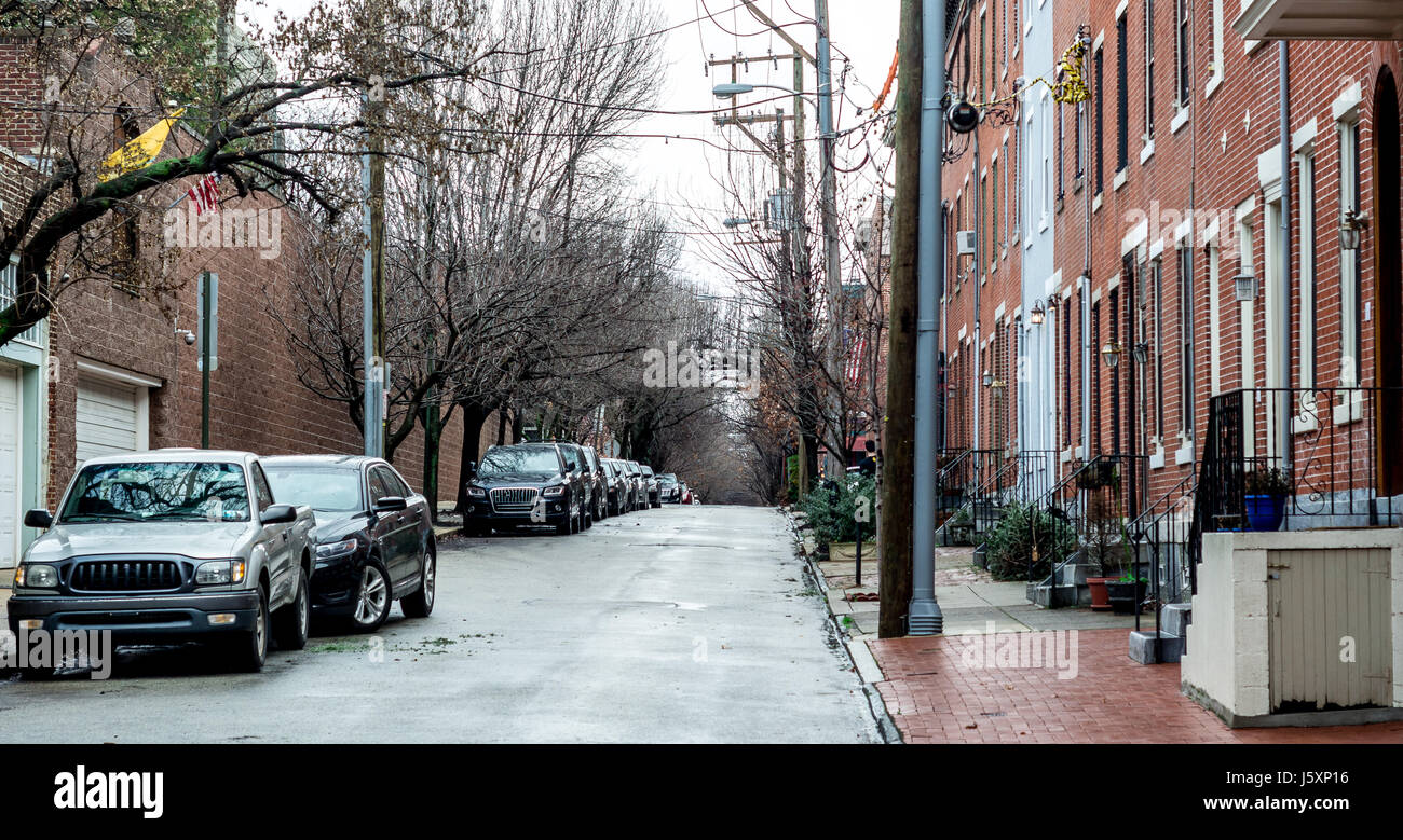 Typical street in center city Philadelphia on a rainy day.  Clean, historic and freshly looking. Built a century - Stock Image