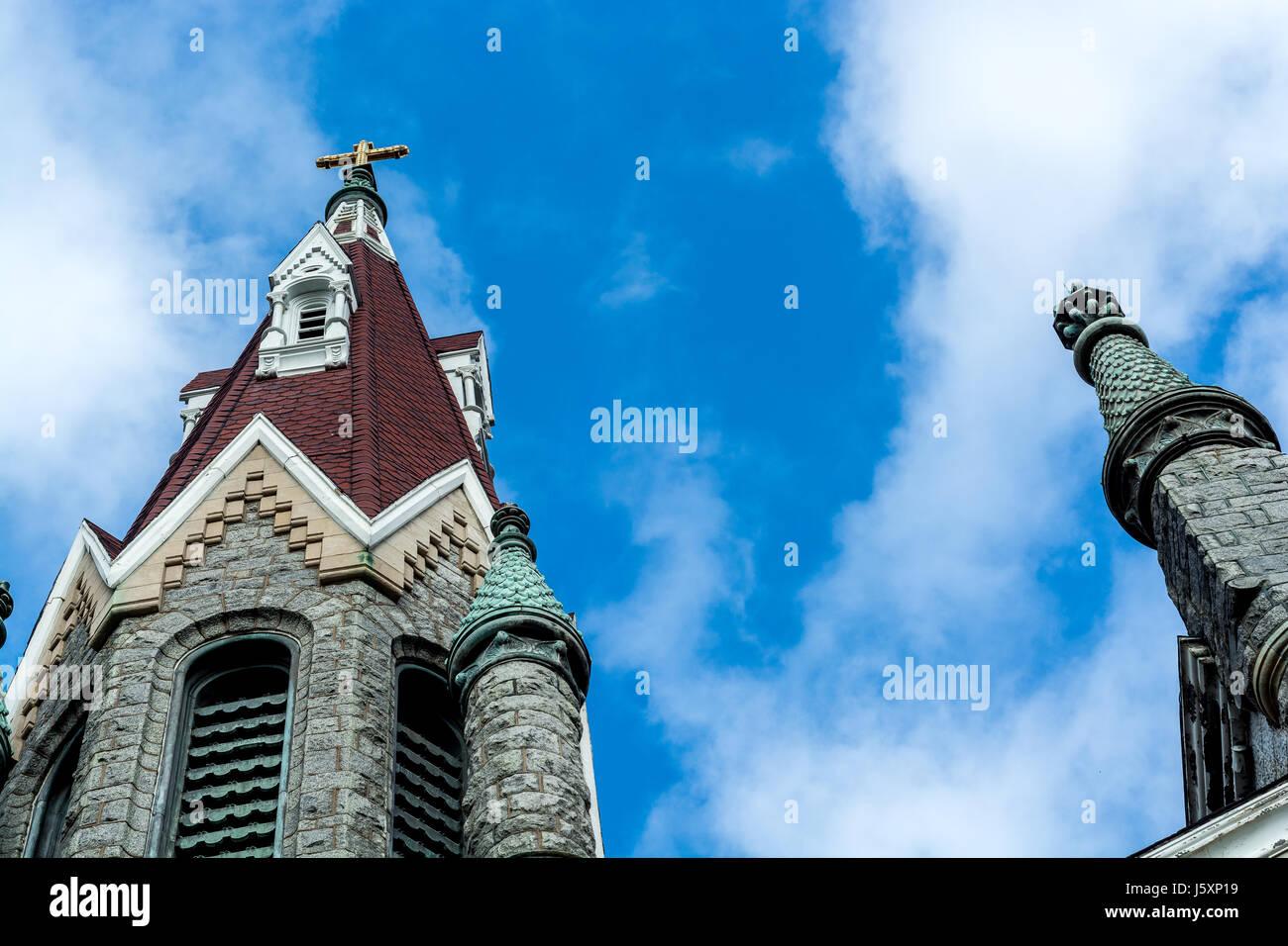 Religious building architecture - church art. Center city Philadelphia. Well built. Catholic  religion facility - Stock Image