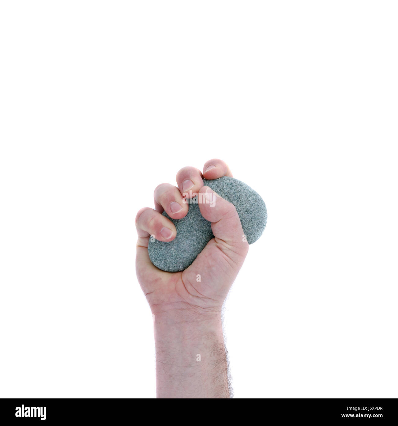 hand stone strong fist grasp strength force pictogram symbol pictograph trade - Stock Image