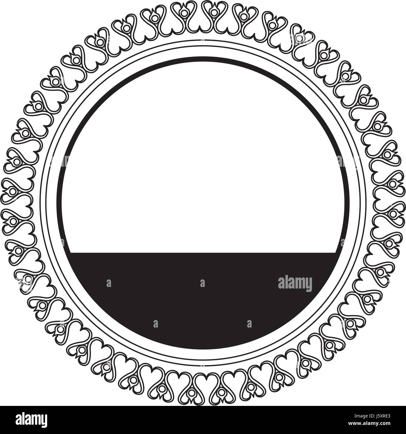 round decoration stamp flourish element template - Stock Image
