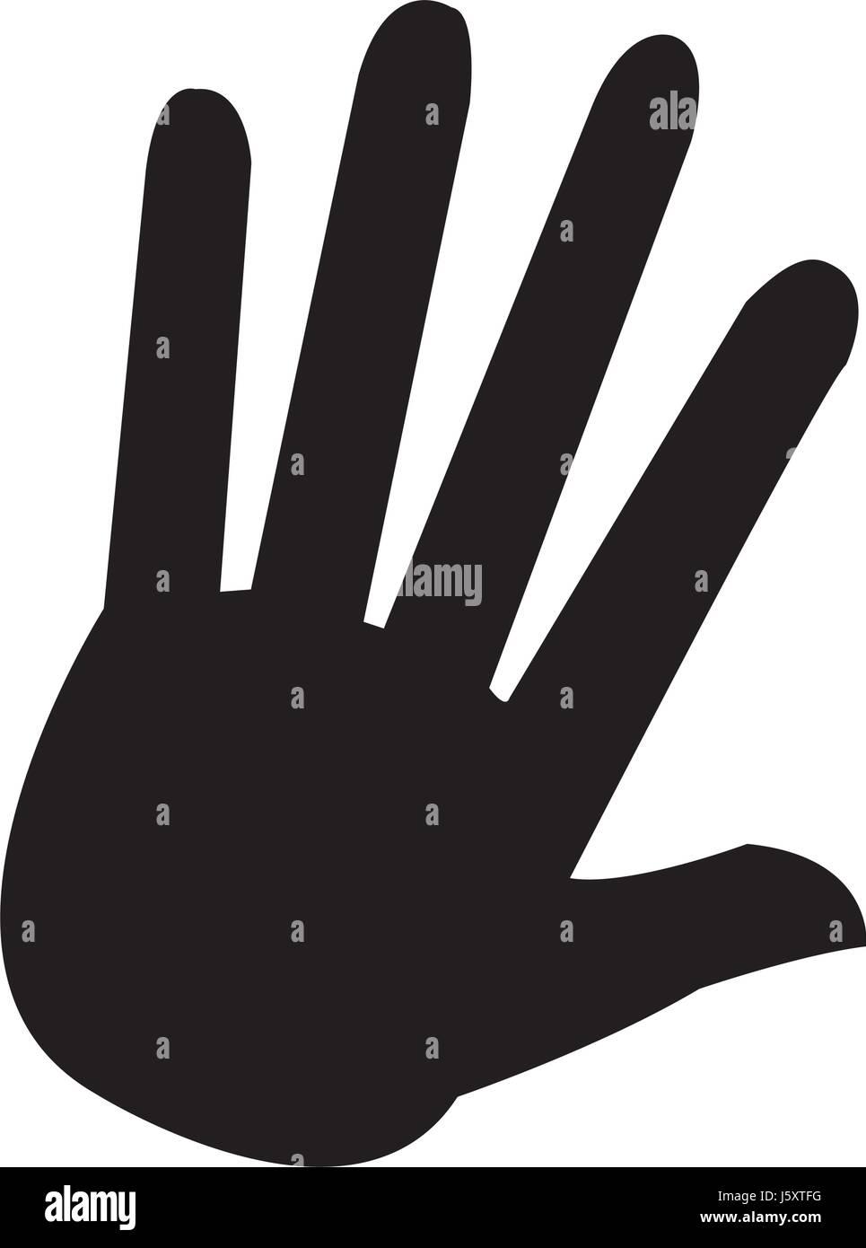 Hand Palm Human Symbol Pictogram Stock Vector Art Illustration