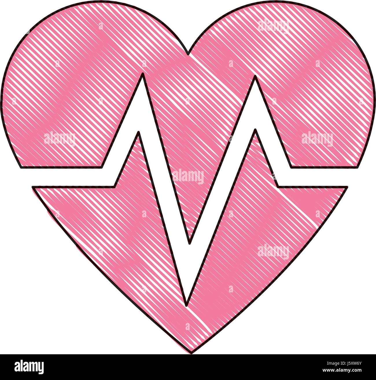 drawing heart beat health care medical Stock Vector Art