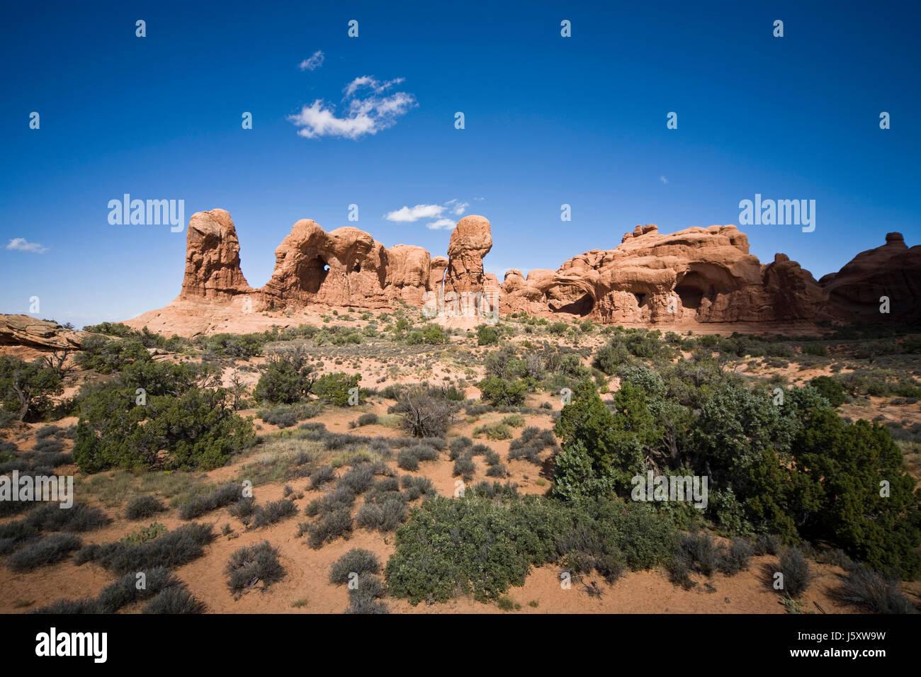 national park usa sandstone double look alike look-alike stone national park - Stock Image