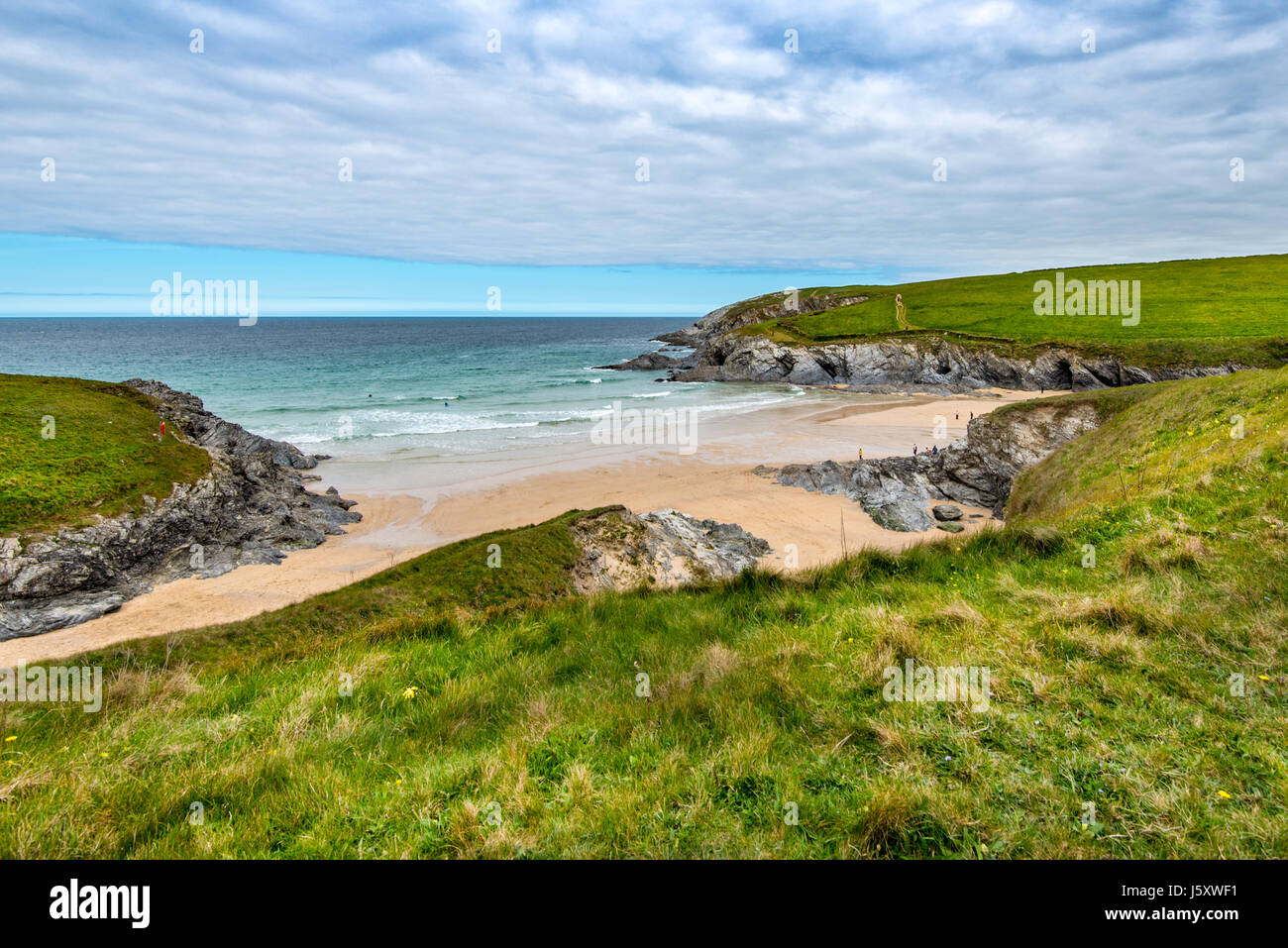 PORTH JOKE, NEWQUAY, CORNWALL, UK - 22APR2017: Porth Joke is a quiet beach with no road access near Newquay, - Stock Image